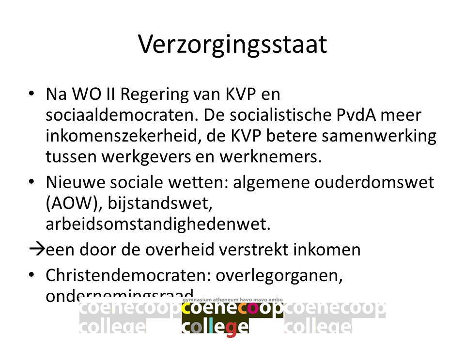 Verzorgingsstaat • Na WO II Regering van KVP en sociaaldemocraten. De socialistische PvdA meer inkomenszekerheid, de KVP betere samenwerking tussen we