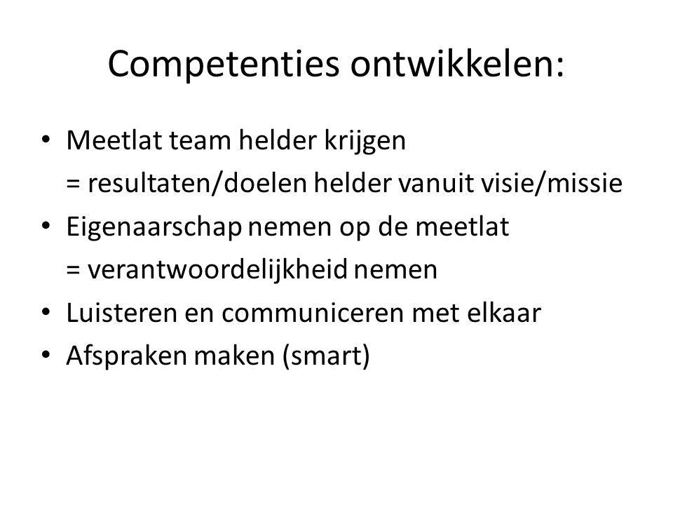 Competenties ontwikkelen: • Meetlat team helder krijgen = resultaten/doelen helder vanuit visie/missie • Eigenaarschap nemen op de meetlat = verantwoo