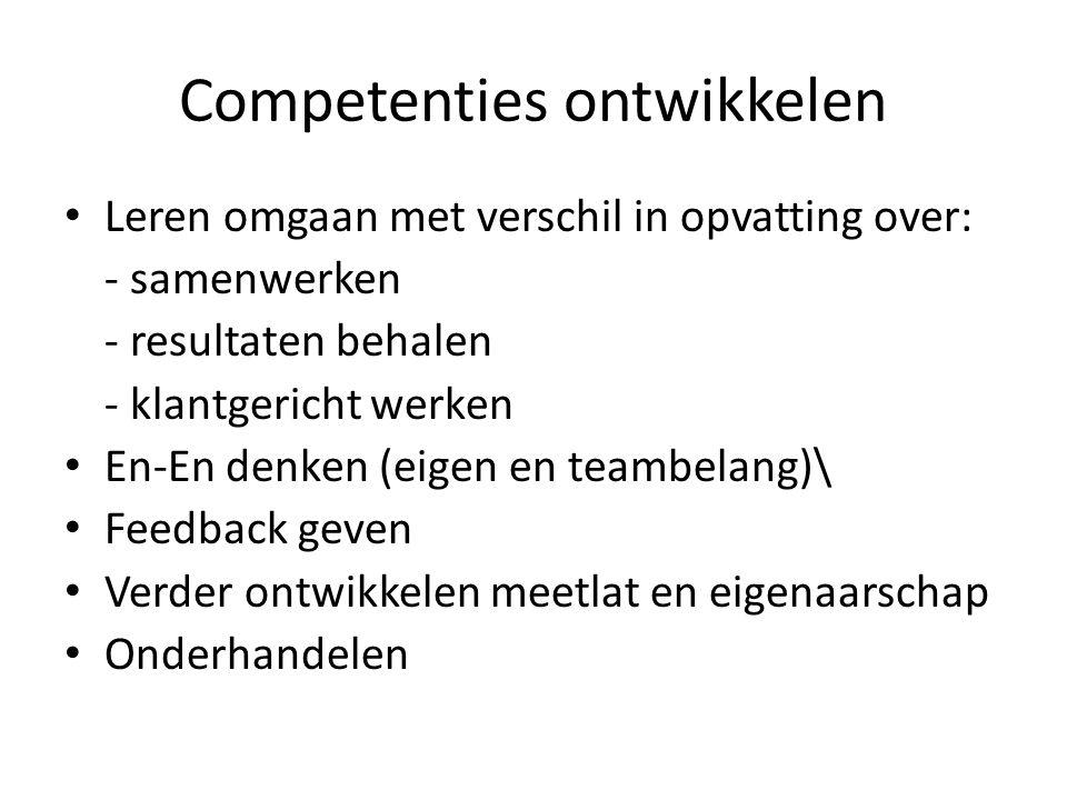Competenties ontwikkelen • Leren omgaan met verschil in opvatting over: - samenwerken - resultaten behalen - klantgericht werken • En-En denken (eigen