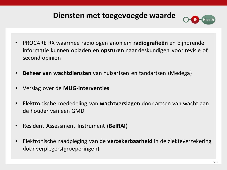 Diensten met toegevoegde waarde • PROCARE RX waarmee radiologen anoniem radiografieën en bijhorende informatie kunnen opladen en opsturen naar deskund