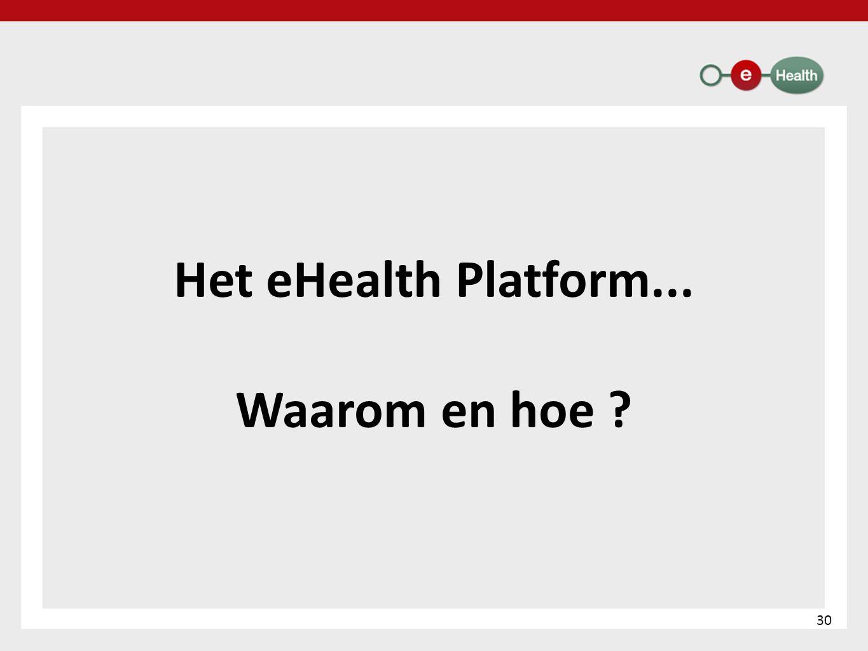 Het eHealth Platform... Waarom en hoe ? 30
