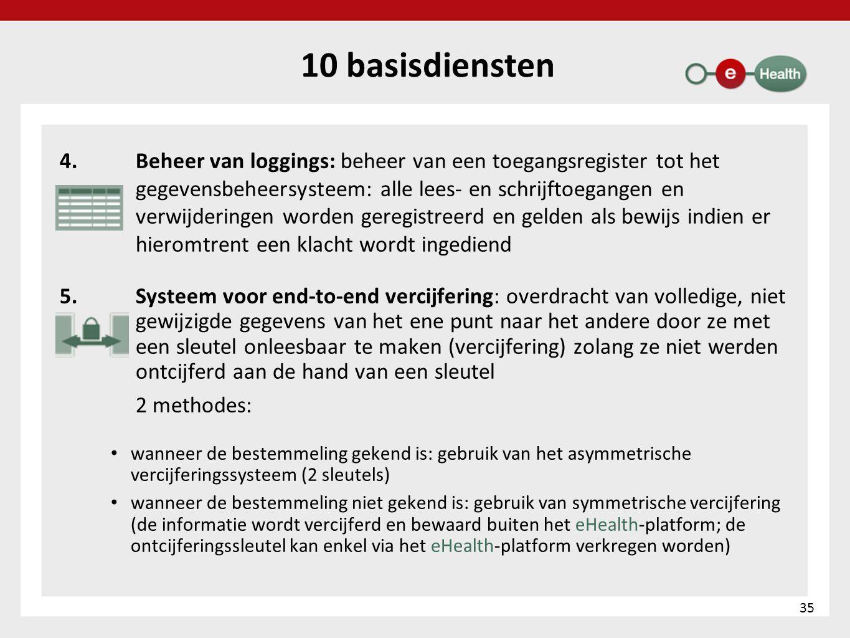 10 basisdiensten 4.Beheer van loggings: beheer van een toegangsregister tot het gegevensbeheersysteem: alle lees- en schrijftoegangen en verwijderinge