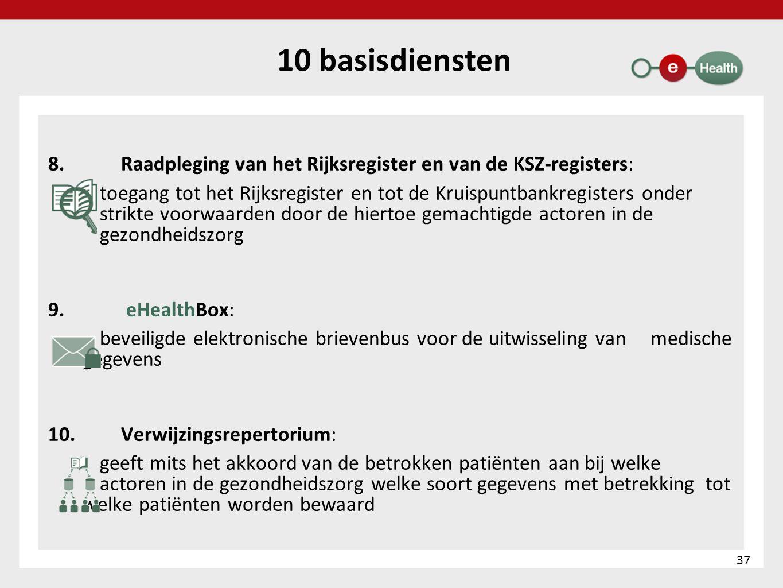 10 basisdiensten 8. Raadpleging van het Rijksregister en van de KSZ-registers: toegang tot het Rijksregister en tot de Kruispuntbankregisters onder st
