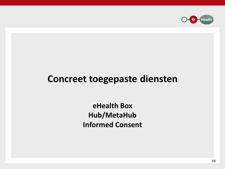 Concreet toegepaste diensten eHealth Box Hub/MetaHub Informed Consent 39