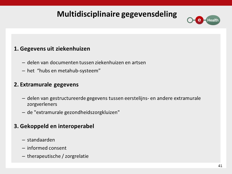 """Multidisciplinaire gegevensdeling 1. Gegevens uit ziekenhuizen – delen van documenten tussen ziekenhuizen en artsen – het """"hubs en metahub-systeem"""" 2."""