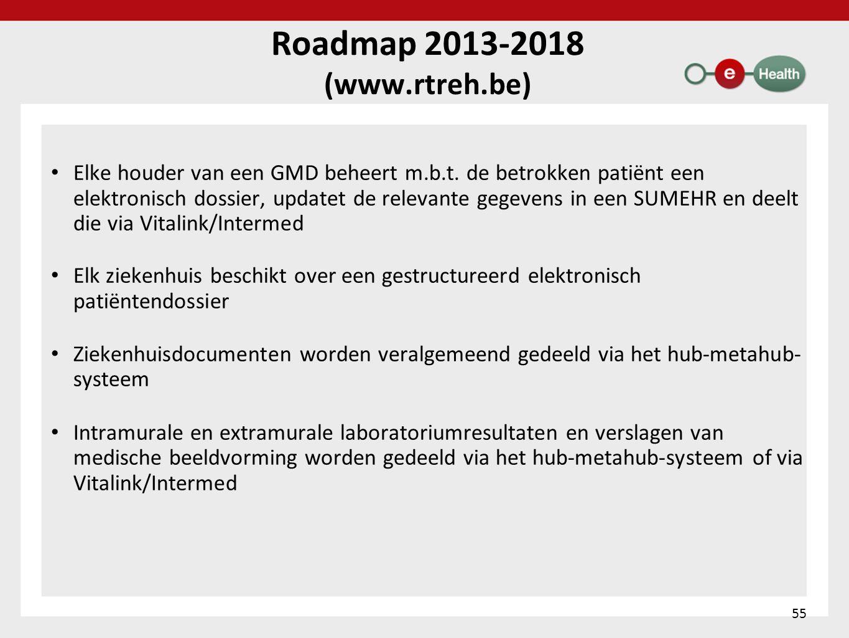 Roadmap 2013-2018 (www.rtreh.be) • Elke houder van een GMD beheert m.b.t. de betrokken patiënt een elektronisch dossier, updatet de relevante gegevens