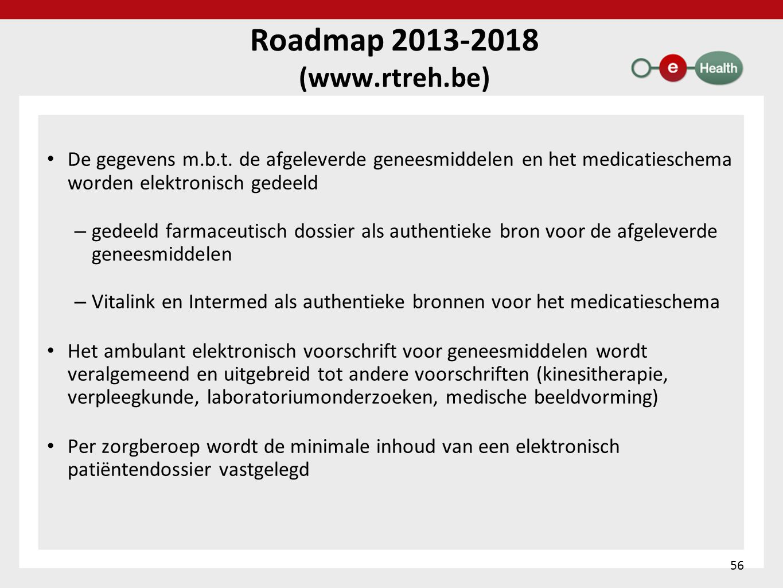 Roadmap 2013-2018 (www.rtreh.be) • De gegevens m.b.t. de afgeleverde geneesmiddelen en het medicatieschema worden elektronisch gedeeld – gedeeld farma