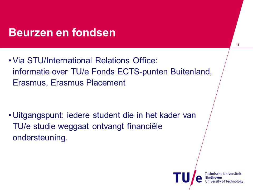 15 Beurzen en fondsen •Via STU/International Relations Office: informatie over TU/e Fonds ECTS-punten Buitenland, Erasmus, Erasmus Placement •Uitgangspunt: iedere student die in het kader van TU/e studie weggaat ontvangt financiële ondersteuning.
