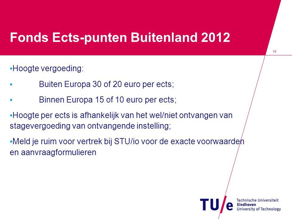 19 Fonds Ects-punten Buitenland 2012 • Hoogte vergoeding: • Buiten Europa 30 of 20 euro per ects; • Binnen Europa 15 of 10 euro per ects; • Hoogte per