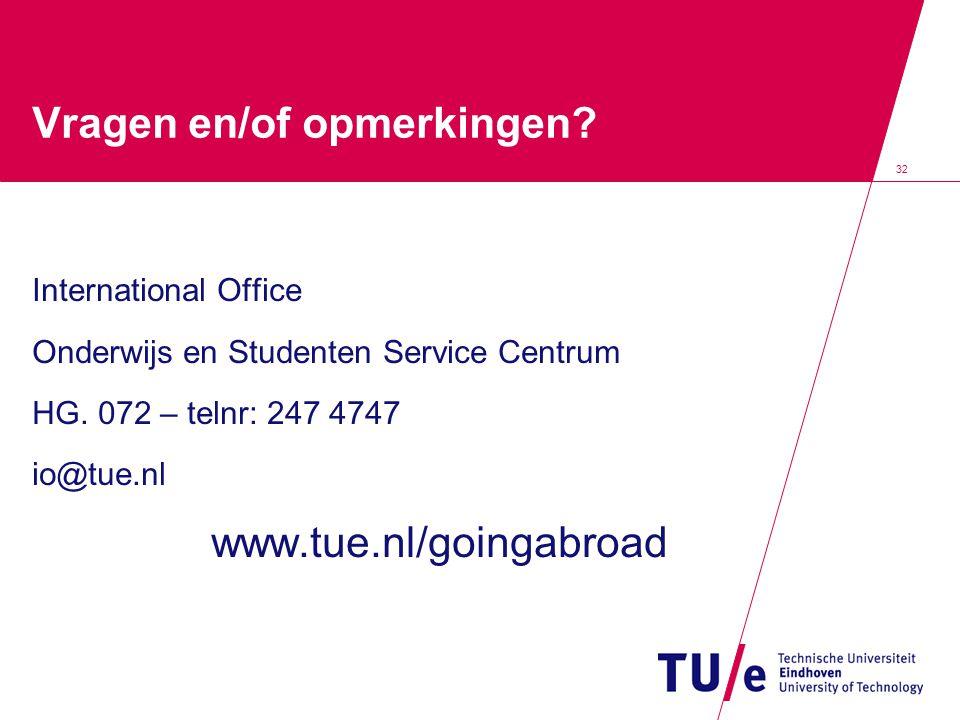 32 Vragen en/of opmerkingen? International Office Onderwijs en Studenten Service Centrum HG. 072 – telnr: 247 4747 io@tue.nl www.tue.nl/goingabroad