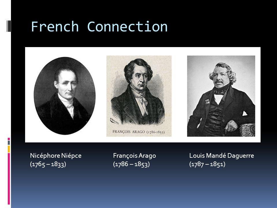 French Connection Nicéphore NiépceFrançois Arago Louis Mandé Daguerre (1765 – 1833)(1786 – 1853) (1787 – 1851)