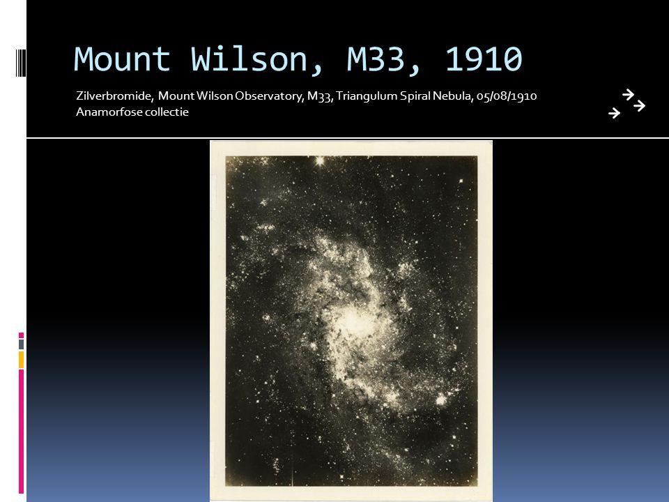 Mount Wilson, M33, 1910 Zilverbromide, Mount Wilson Observatory, M33, Triangulum Spiral Nebula, 05/08/1910 Anamorfose collectie