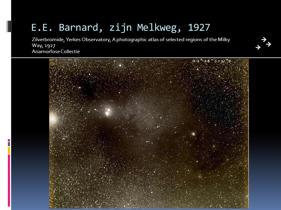 E.E. Barnard, zijn Melkweg, 1927 Zilverbromide, Yerkes Observatory, A photographic atlas of selected regions of the Milky Way, 1927 Anamorfose Collect