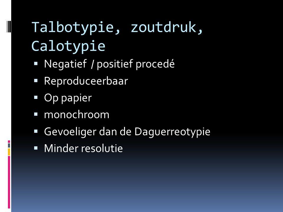 Talbotypie, zoutdruk, Calotypie  Negatief / positief procedé  Reproduceerbaar  Op papier  monochroom  Gevoeliger dan de Daguerreotypie  Minder resolutie