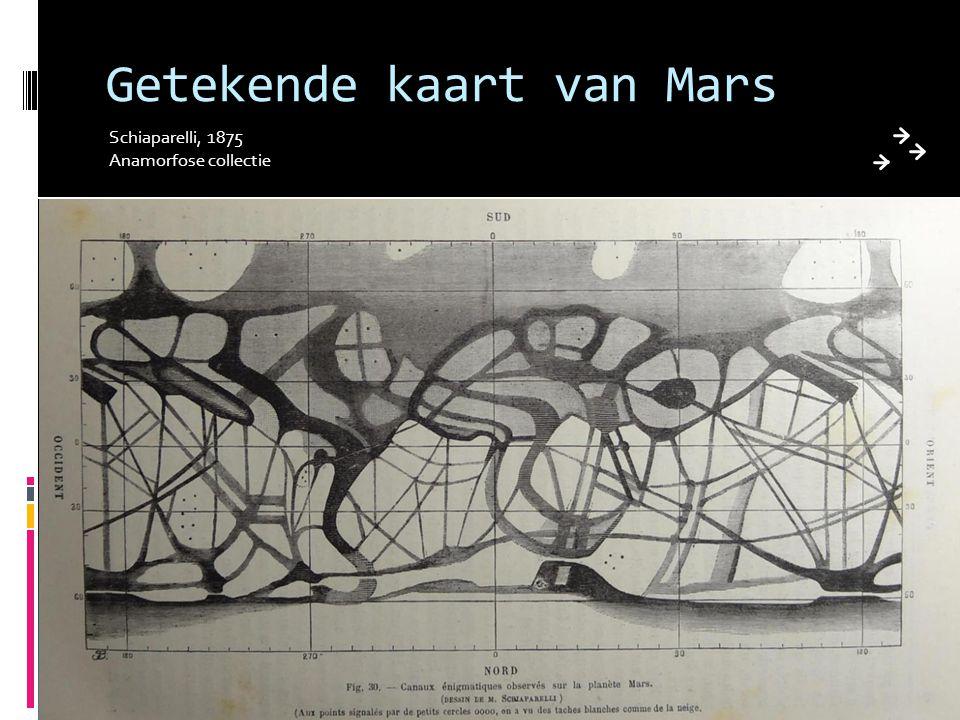 Getekende kaart van Mars Schiaparelli, 1875 Anamorfose collectie