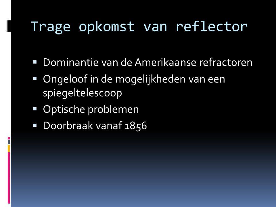 Trage opkomst van reflector  Dominantie van de Amerikaanse refractoren  Ongeloof in de mogelijkheden van een spiegeltelescoop  Optische problemen 