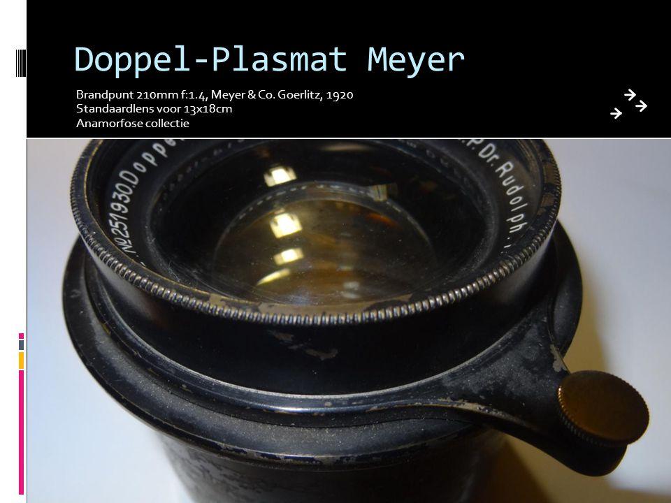 Doppel-Plasmat Meyer Brandpunt 210mm f:1.4, Meyer & Co. Goerlitz, 1920 Standaardlens voor 13x18cm Anamorfose collectie