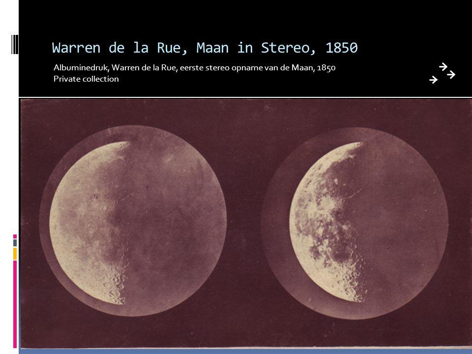 Warren de la Rue, Maan in Stereo, 1850 Albuminedruk, Warren de la Rue, eerste stereo opname van de Maan, 1850 Private collection