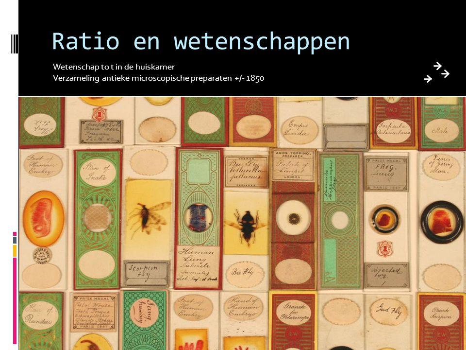 Ratio en wetenschappen Wetenschap to t in de huiskamer Verzameling antieke microscopische preparaten +/- 1850