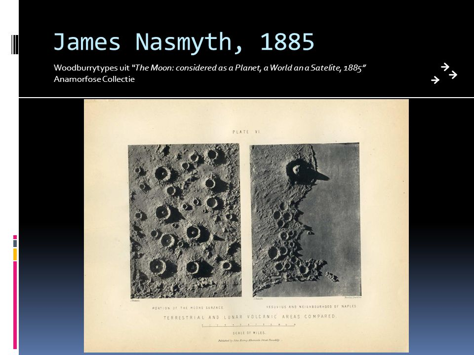 "James Nasmyth, 1885 Woodburrytypes uit ""The Moon: considered as a Planet, a World an a Satelite, 1885"" Anamorfose Collectie"