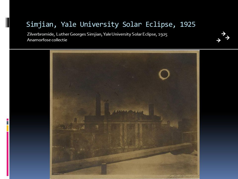 Simjian, Yale University Solar Eclipse, 1925 Zilverbromide, Luther Georges Simjian, Yale University Solar Eclipse, 1925 Anamorfose collectie