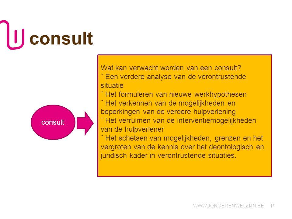 WWW.JONGERENWELZIJN.BE P consult consult-ocj.wvl@jongerenwelzijn.be