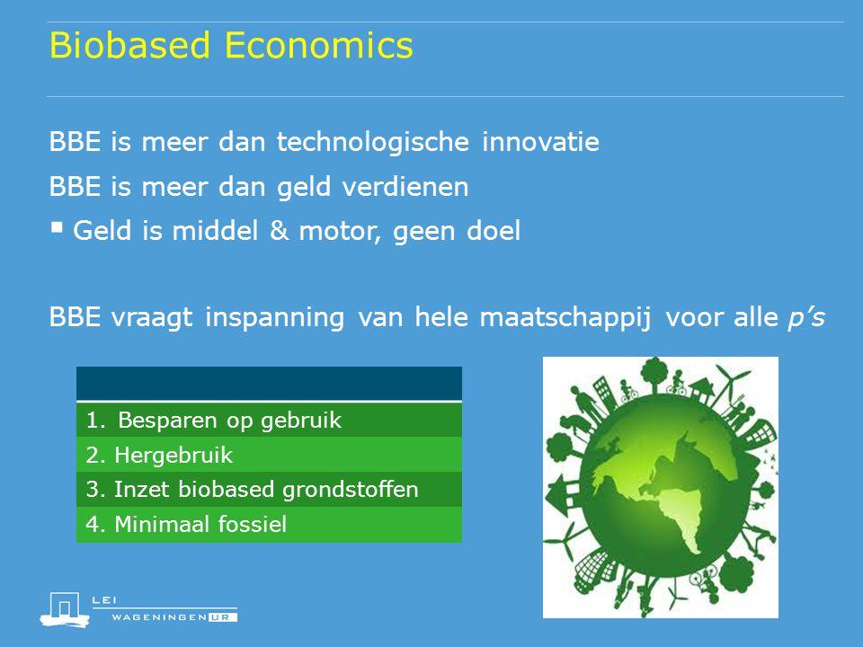 Biobased Economics BBE is meer dan technologische innovatie BBE is meer dan geld verdienen  Geld is middel & motor, geen doel BBE vraagt inspanning v