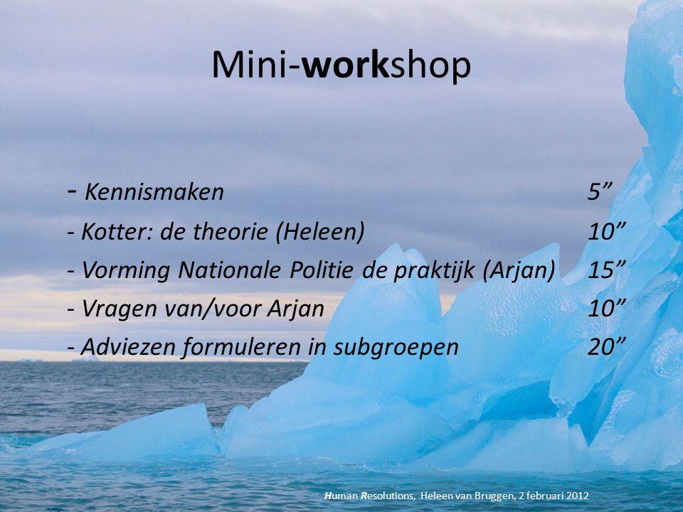 """Mini-workshop - Kennismaken 5"""" - Kotter: de theorie (Heleen)10"""" - Vorming Nationale Politie de praktijk (Arjan)15"""" - Vragen van/voor Arjan 10"""" - Advie"""