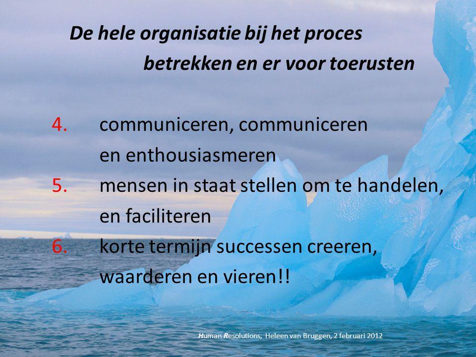 De hele organisatie bij het proces betrekken en er voor toerusten 4. communiceren, communiceren en enthousiasmeren 5. mensen in staat stellen om te ha