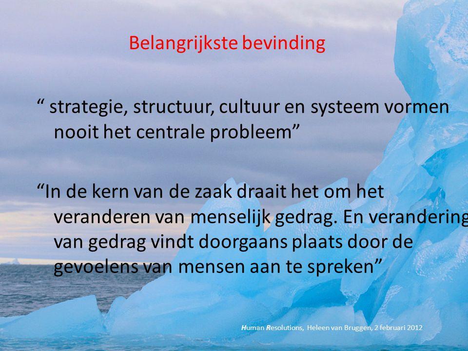 """Belangrijkste bevinding """" strategie, structuur, cultuur en systeem vormen nooit het centrale probleem"""" """"In de kern van de zaak draait het om het veran"""