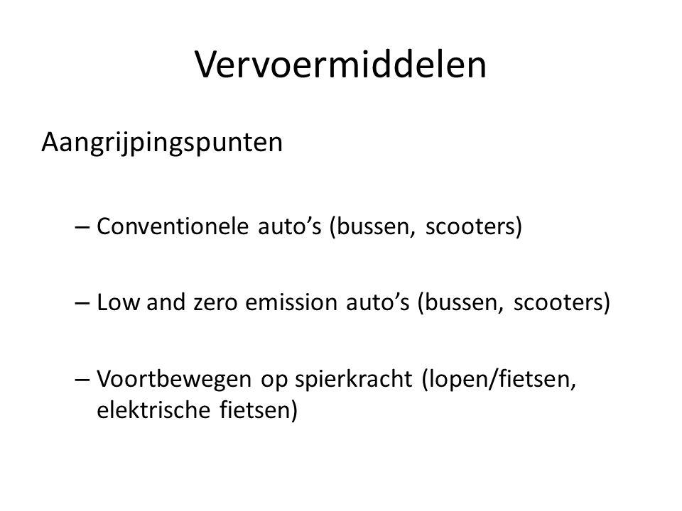 Vervoermiddelen Aangrijpingspunten – Conventionele auto's (bussen, scooters) – Low and zero emission auto's (bussen, scooters) – Voortbewegen op spier