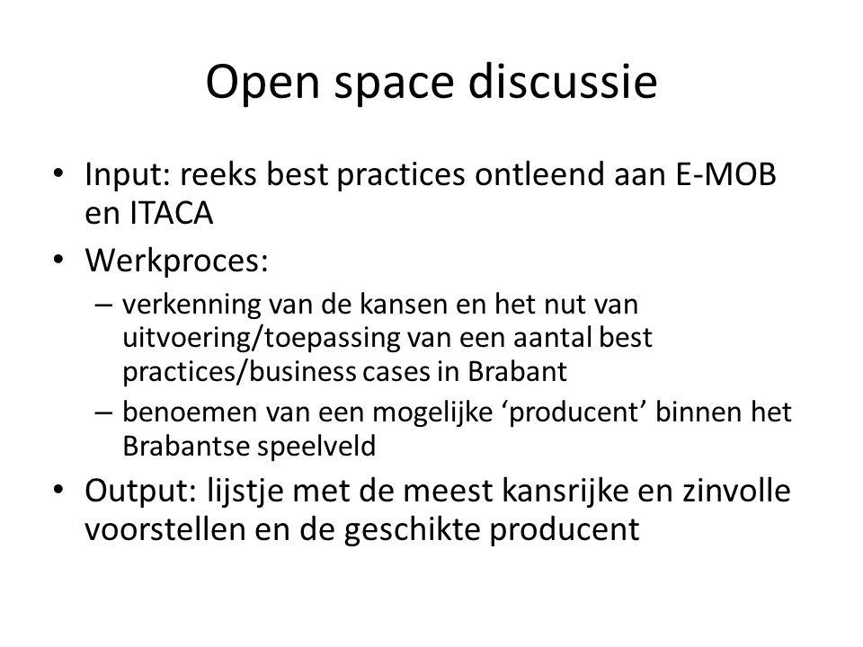 Open space discussie • Input: reeks best practices ontleend aan E-MOB en ITACA • Werkproces: – verkenning van de kansen en het nut van uitvoering/toep