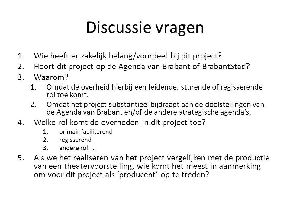 Discussie vragen 1.Wie heeft er zakelijk belang/voordeel bij dit project? 2.Hoort dit project op de Agenda van Brabant of BrabantStad? 3.Waarom? 1.Omd