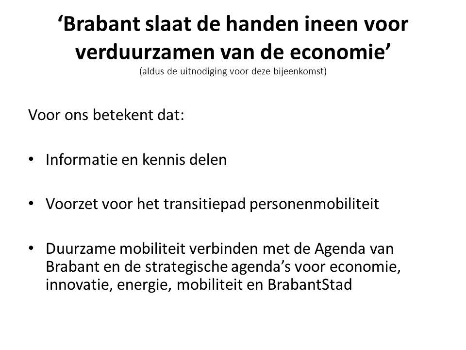 'Brabant slaat de handen ineen voor verduurzamen van de economie' (aldus de uitnodiging voor deze bijeenkomst) Voor ons betekent dat: • Informatie en