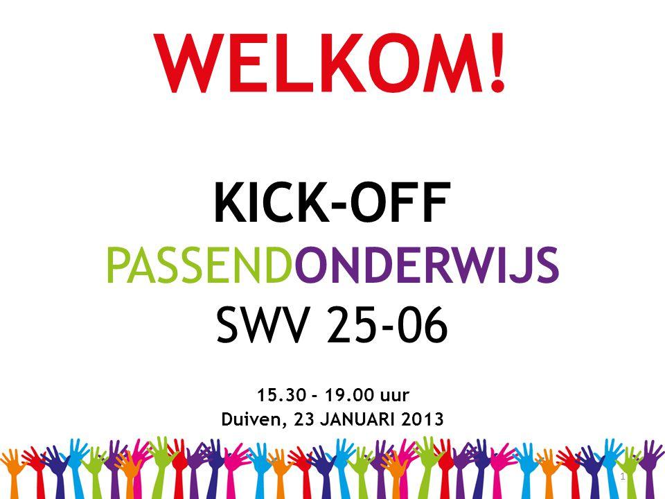 1 WELKOM! KICK-OFF PASSENDONDERWIJS SWV 25-06 15.30 - 19.00 uur Duiven, 23 JANUARI 2013