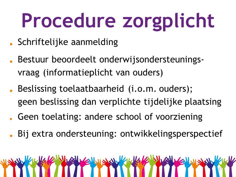 17 Procedure zorgplicht. Schriftelijke aanmelding. Bestuur beoordeelt onderwijsondersteunings- vraag (informatieplicht van ouders). Beslissing toelaat