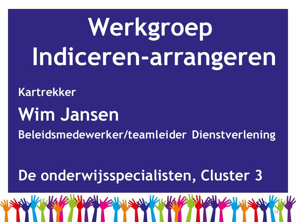 34 Werkgroep Indiceren-arrangeren Kartrekker Wim Jansen Beleidsmedewerker/teamleider Dienstverlening De onderwijsspecialisten, Cluster 3