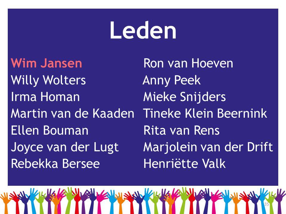 35 Leden Wim Jansen Ron van Hoeven Willy Wolters Anny Peek Irma Homan Mieke Snijders Martin van de Kaaden Tineke Klein Beernink Ellen Bouman Rita van