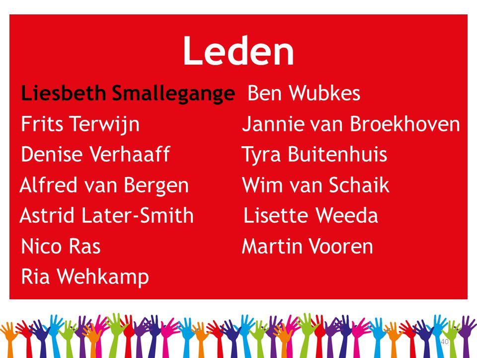 40 Leden Liesbeth Smallegange Ben Wubkes Frits Terwijn Jannie van Broekhoven Denise Verhaaff Tyra Buitenhuis Alfred van Bergen Wim van Schaik Astrid L