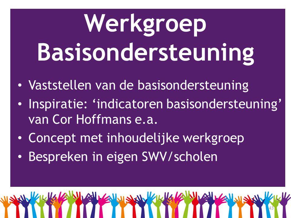 43 Werkgroep Basisondersteuning • Vaststellen van de basisondersteuning • Inspiratie: 'indicatoren basisondersteuning' van Cor Hoffmans e.a. • Concept