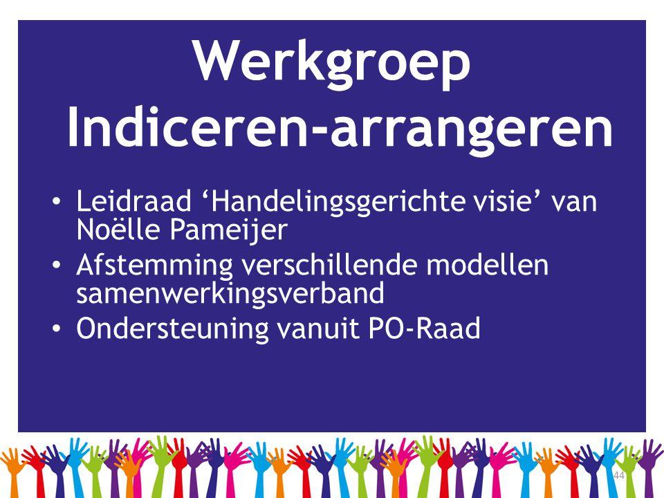 44 Werkgroep Indiceren-arrangeren • Leidraad 'Handelingsgerichte visie' van Noëlle Pameijer • Afstemming verschillende modellen samenwerkingsverband •