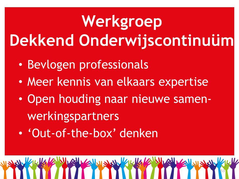 53 Werkgroep Dekkend Onderwijscontinuüm • Bevlogen professionals • Meer kennis van elkaars expertise • Open houding naar nieuwe samen- werkingspartner