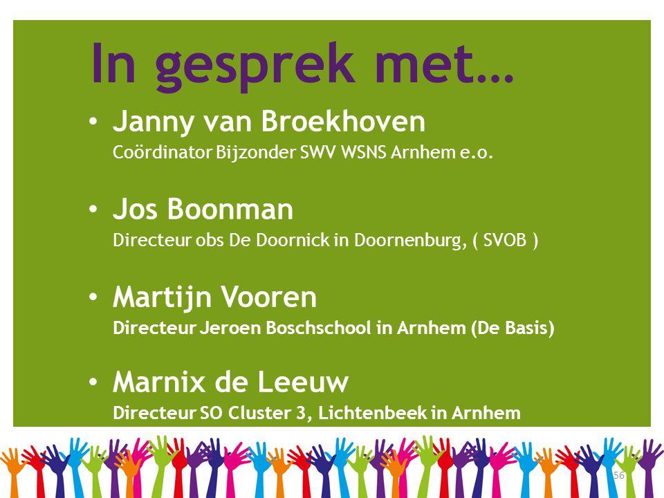 56 In gesprek met… • Janny van Broekhoven Coördinator Bijzonder SWV WSNS Arnhem e.o. • Jos Boonman Directeur obs De Doornick in Doornenburg, ( SVOB )