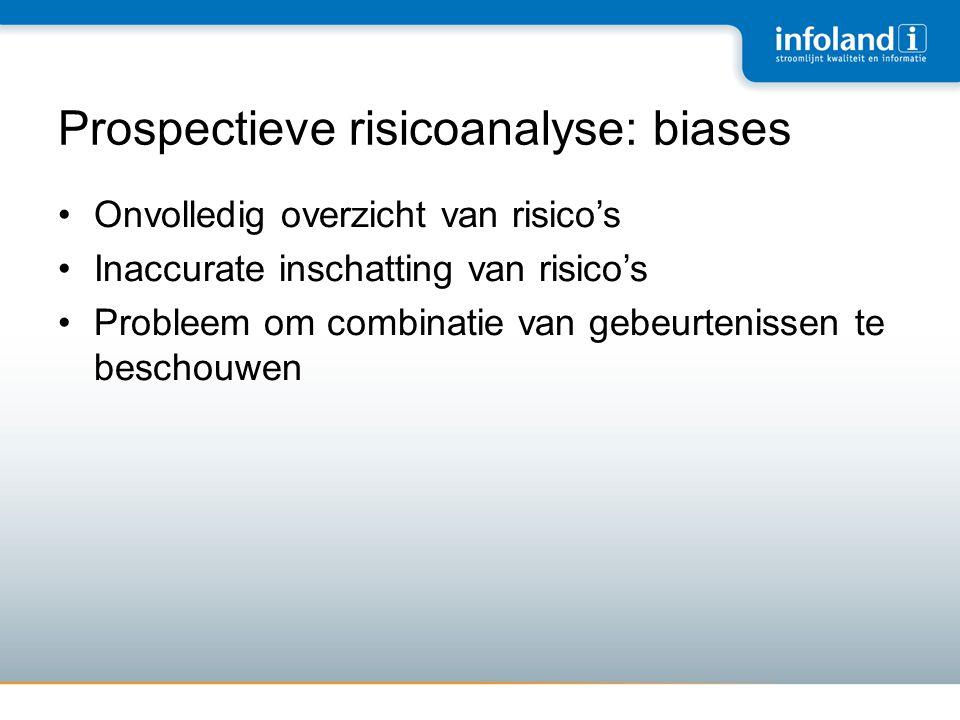 Prospectieve risicoanalyse: biases •Onvolledig overzicht van risico's •Inaccurate inschatting van risico's •Probleem om combinatie van gebeurtenissen