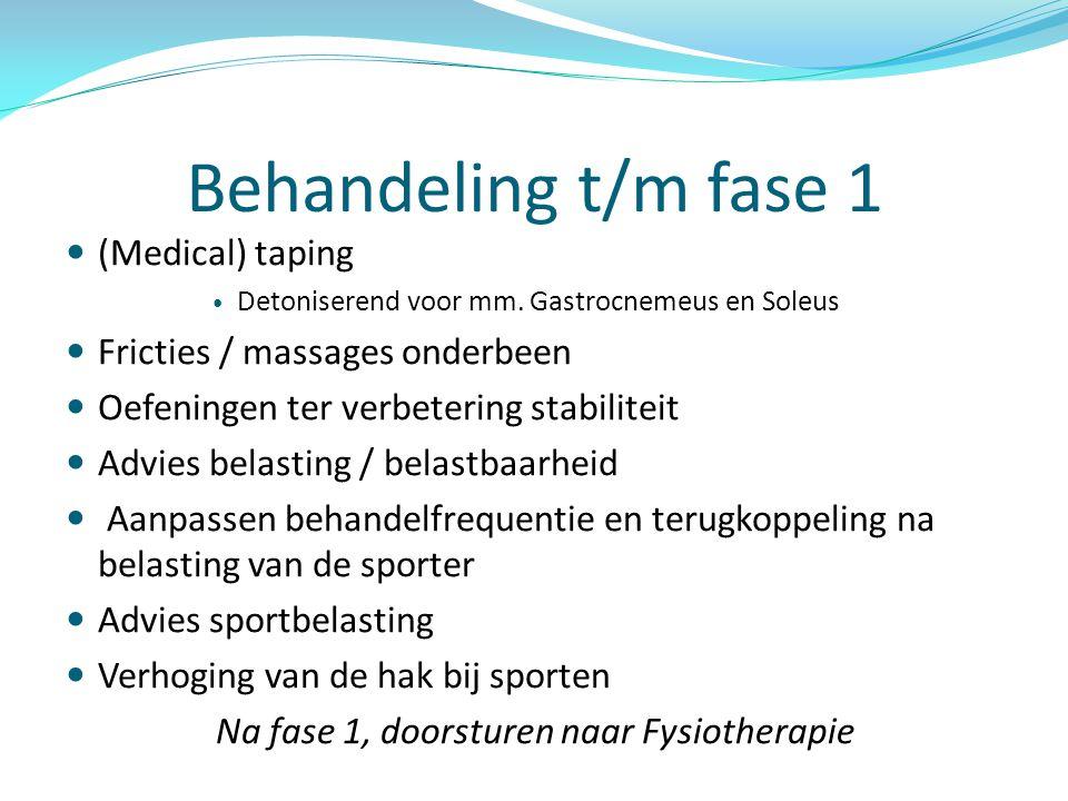 Behandeling t/m fase 1  (Medical) taping  Detoniserend voor mm. Gastrocnemeus en Soleus  Fricties / massages onderbeen  Oefeningen ter verbetering