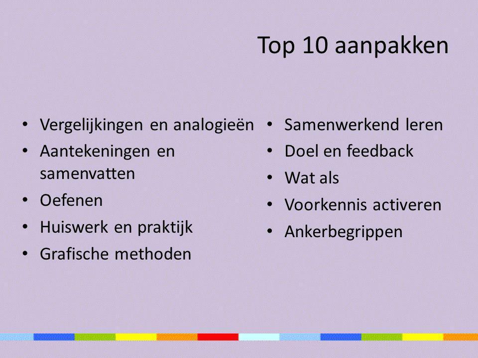 Top 10 aanpakken • Vergelijkingen en analogieën • Aantekeningen en samenvatten • Oefenen • Huiswerk en praktijk • Grafische methoden • Samenwerkend le