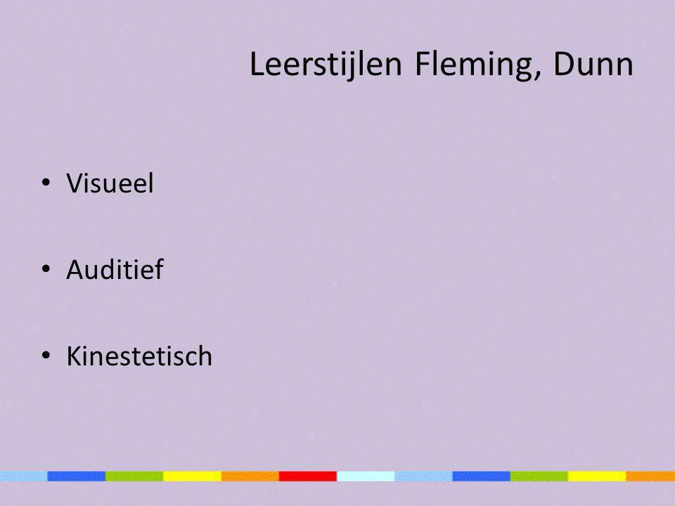 Leerstijlen Fleming, Dunn • Visueel • Auditief • Kinestetisch