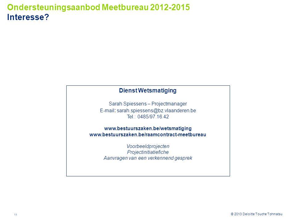 11 © 2012 Deloitte Touche Tohmatsu© 2013 Deloitte Touche Tohmatsu Ondersteuningsaanbod Meetbureau 2012-2015 Interesse.