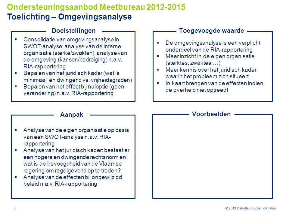 7 © 2012 Deloitte Touche Tohmatsu© 2013 Deloitte Touche Tohmatsu  De omgevingsanalyse is een verplicht onderdeel van de RIA-rapportering  Meer inzicht in de eigen organisatie (sterktes, zwaktes,…)  Meer kennis over het juridisch kader waarin het probleem zich situeert  In kaart brengen van de effecten indien de overheid niet optreedt Toegevoegde waarde  Consolidatie van omgevingsanalyse in SWOT-analyse: analyse van de interne organisatie (sterke/zwakten), analyse van de omgeving (kansen/bedreiging) n.a.v.