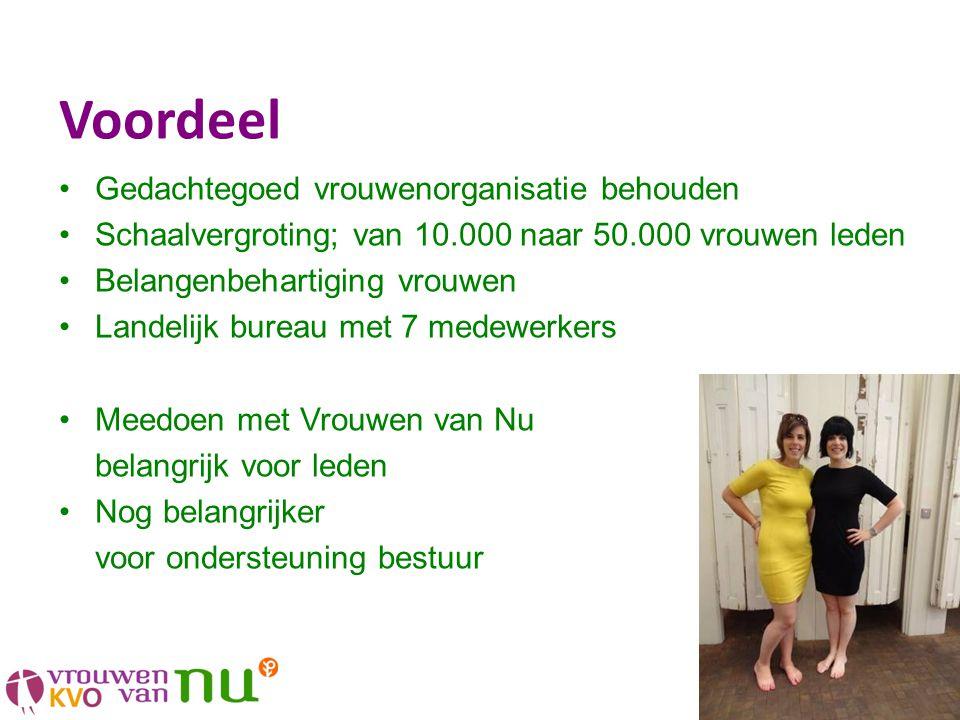 Voordeel •Gedachtegoed vrouwenorganisatie behouden •Schaalvergroting; van 10.000 naar 50.000 vrouwen leden •Belangenbehartiging vrouwen •Landelijk bur